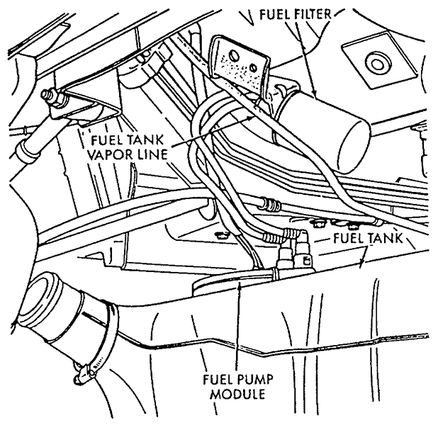 where is the fuel filter located on a 1997 sebring chrysler jx