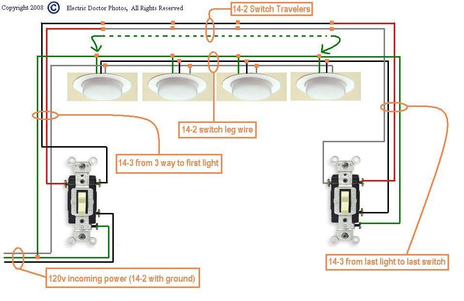 i need a diagram for wiring three way switches to lights 4 power starting at the