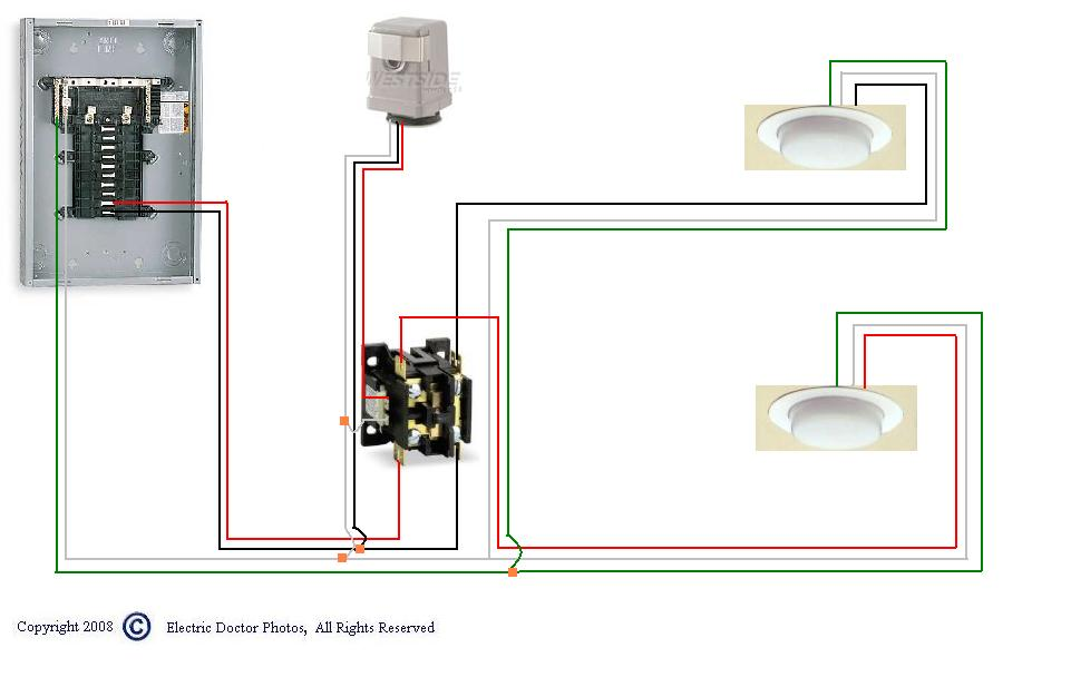 how to wire a photocell a relay contactor for outsiden graphic