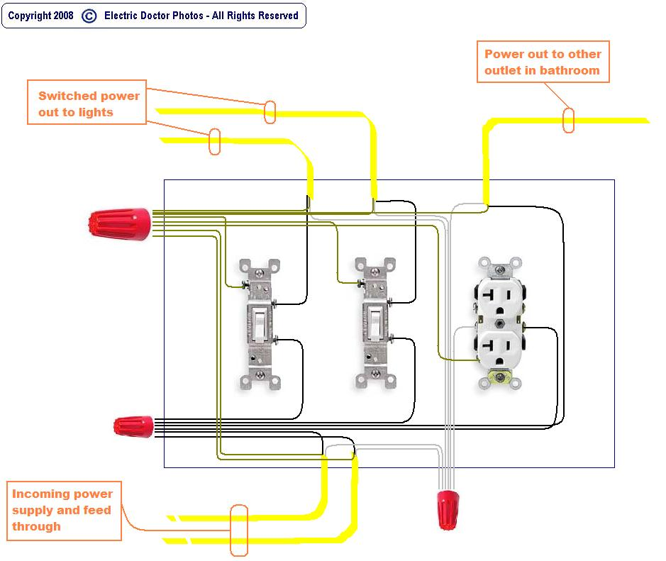 i have one box two switches and one receptacle how can ok here is your diagram if you have questions on any part of this please let me know