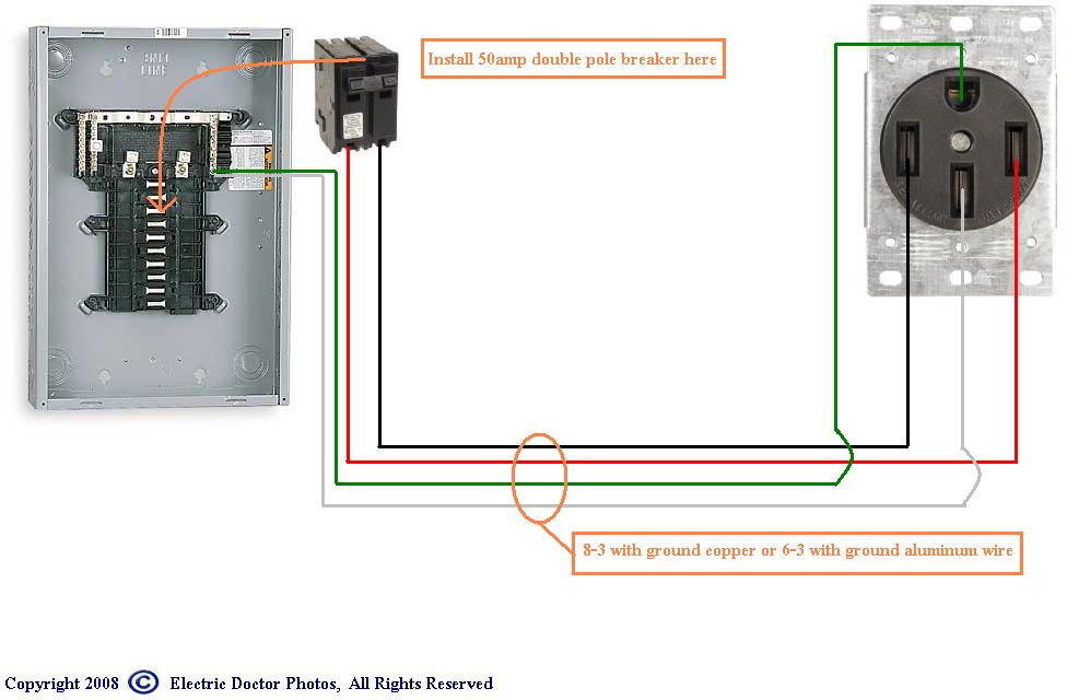 50 amp rv wiring diagram trailer we are wiring a new 50 amp breaker into an old square d ...