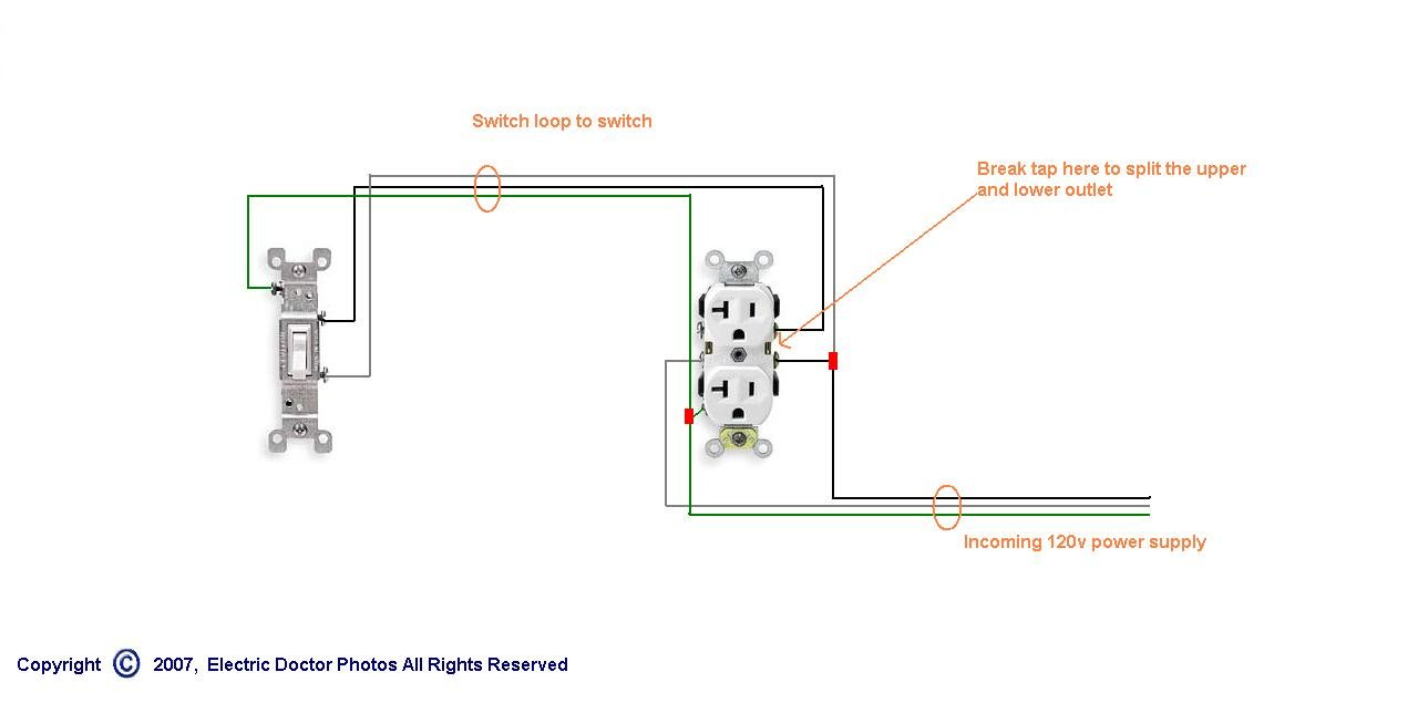 Wiring Half Hot Schematic Diagrams Electrical Switch Loop Outlet Diagram Light Basic Simple Schematics