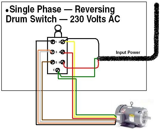 Wiring a Dayton 1hp motor with drum switch?