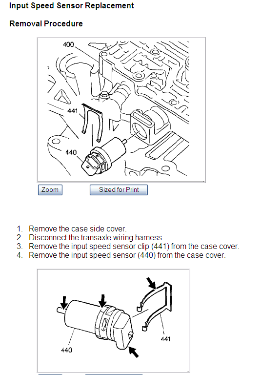 2001 oldsmobile aurora the input speed sensor located