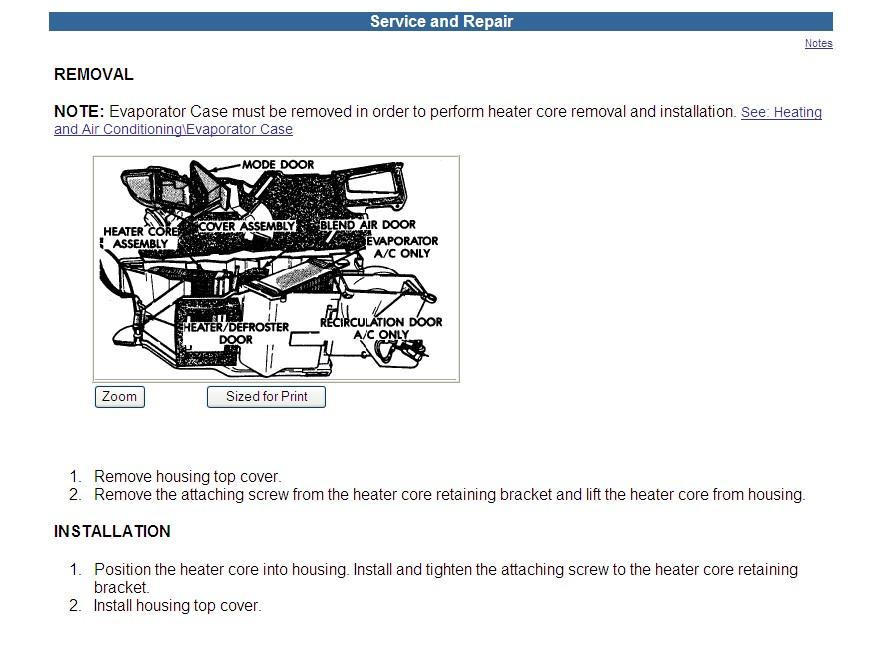 Dodge Dakota Heater Core Diagram