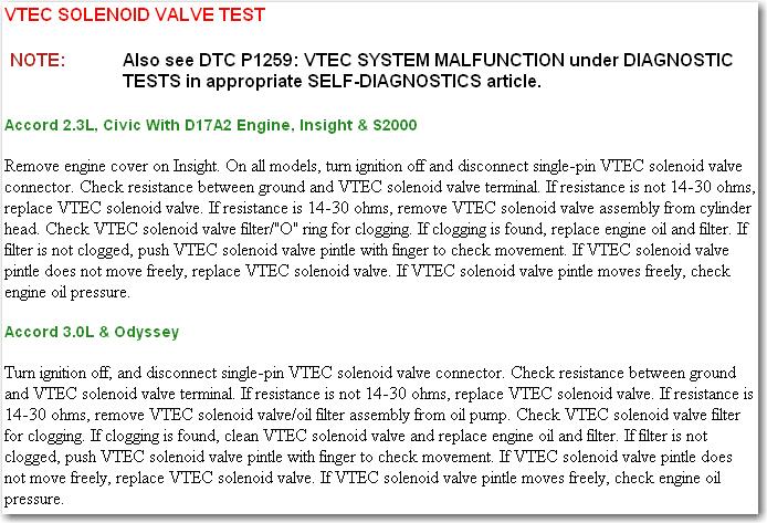 I have computer error code p1259 (CRV 202 Vtec 2.4 engine).