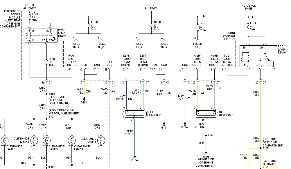Diagram  1999 Dodge Ram 2500 Headlight Dimmer Switch