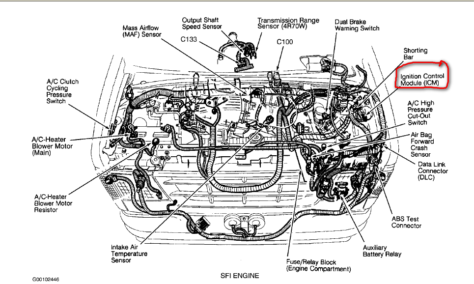 where is the ignition module located on an 1995 ford