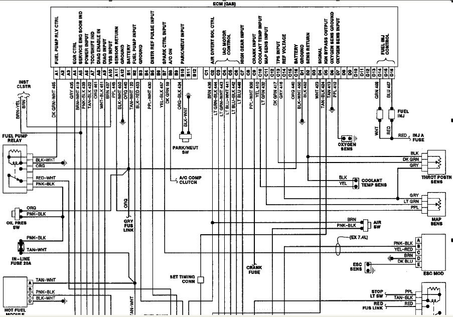 do you have a wiring diagram that shows the routing location for each pin for the ecm computer