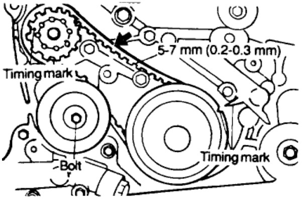 what are the timing marks on a 2001 hyundai sonata its a 2