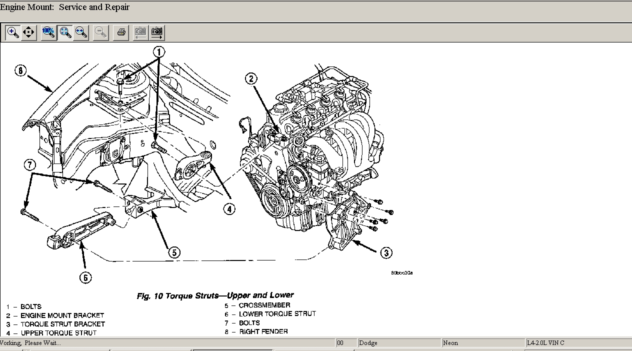 locations of dodge neon 2000 es engine mounts