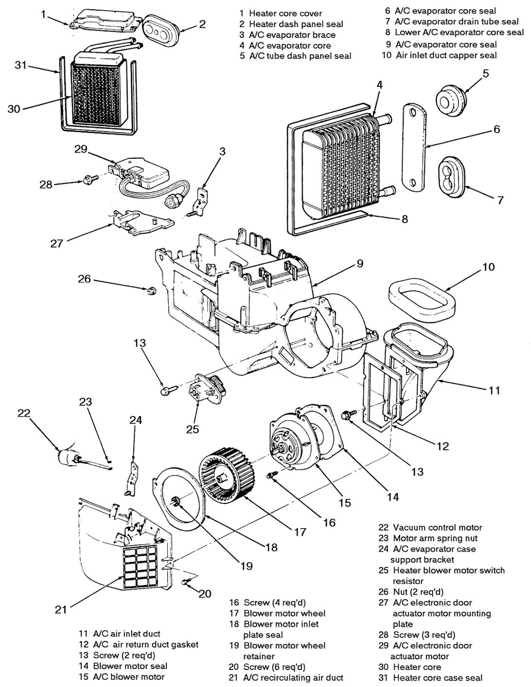 service manual  2008 ford taurus heater core replace