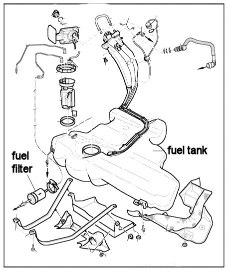where is the fuel filter located on a 2001 volkswagen
