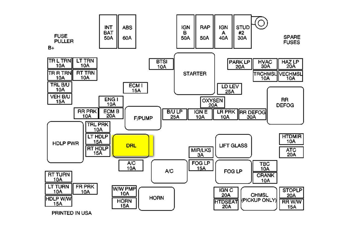 Drl Fuse on 2003 Gmc Sonoma Radio Wiring Diagram