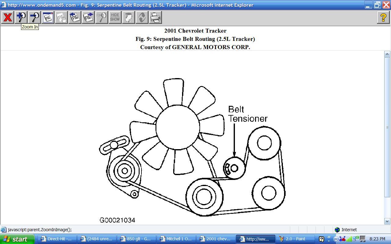 2001 chevy tracker serpentine belt routing graphic