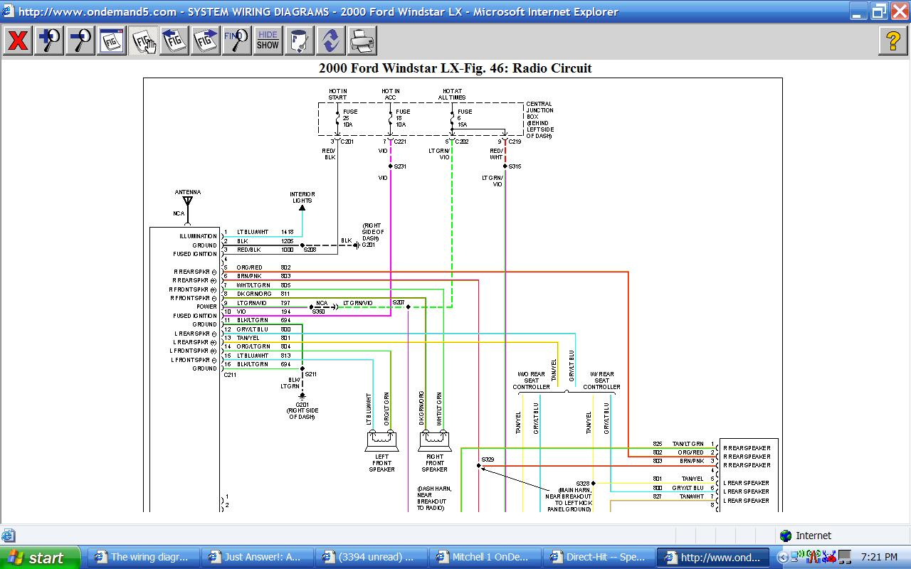 The Wiring Diagram I Have For My 2000 Windstar Doesn U0026 39 T