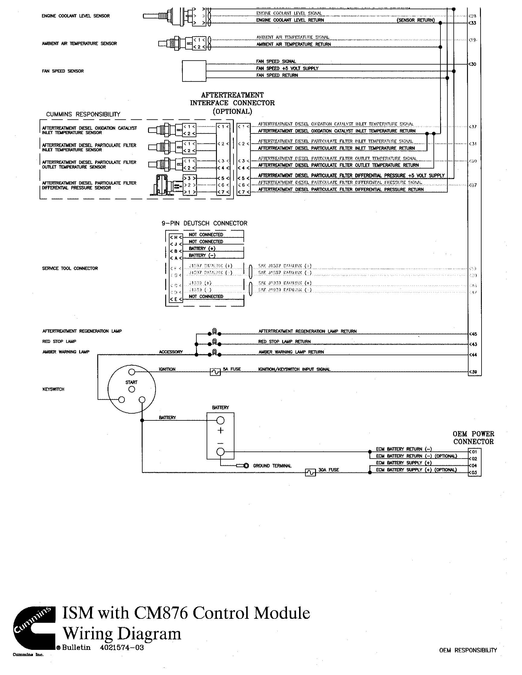 i need ecm pinout for ism cummins engine engine computer graphic