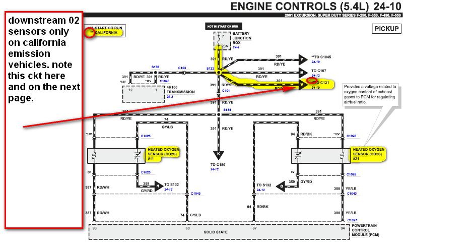 2001 F 250  5 4l  2 Upstream O2 Sensors Near Manifold