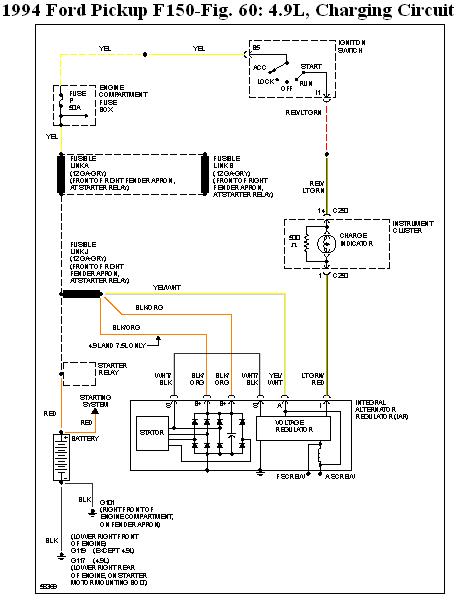 1994 ford f 150 my alternator new alternator has 3 wirngs stripe graphic