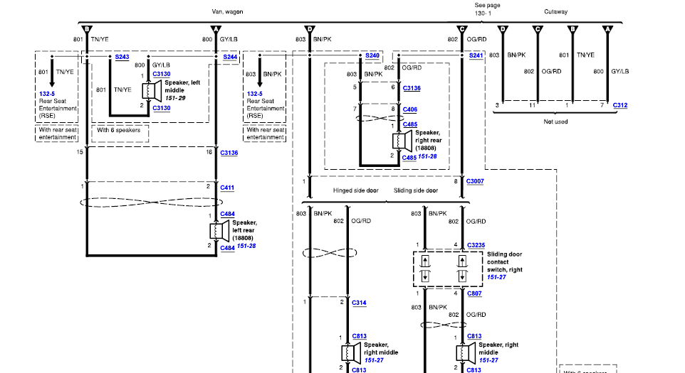 wiring diagram for the radio and speakers for 2004 e450 shuttle bus graphic