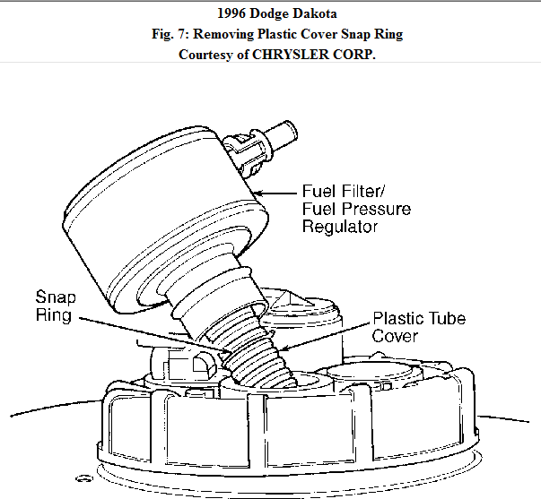 need to know where the fuel filter for a 1996 dodge dakota