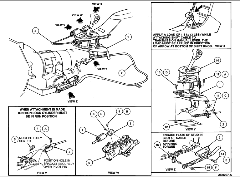 98 ford mustang gt  exploded view of a shifter  automatic transmission