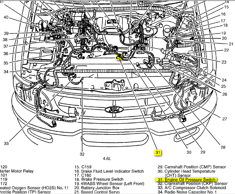 Oilpressureswitch on 2001 Ford F 150 Oil Pressure Sensor Location