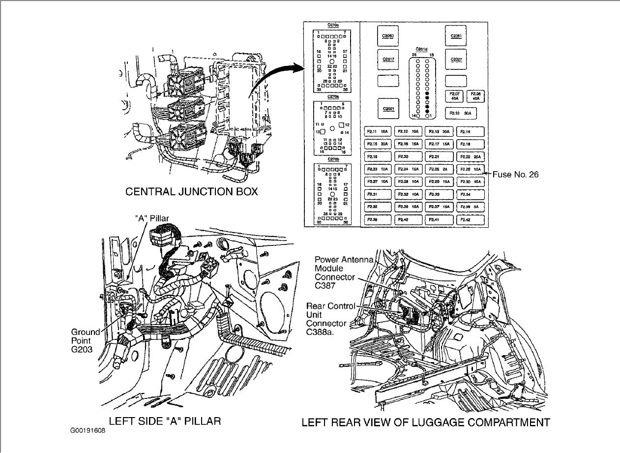 service manual  how to remove antena on a 2002 ford
