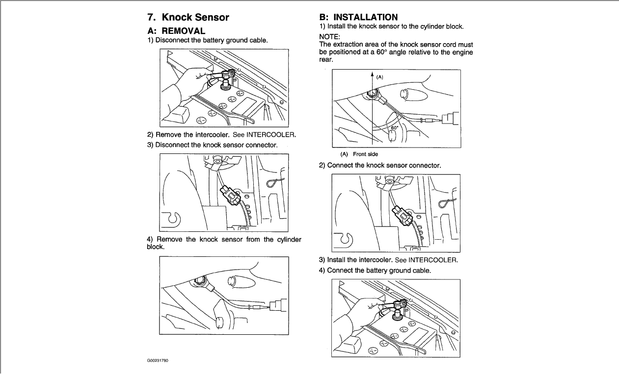 where is the knock sensor on a 2003 subaru impreza wrx