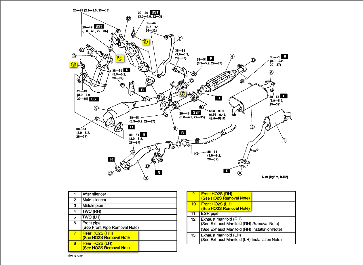 fusion oxygen sensor location control arm location