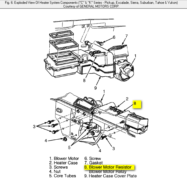 service manual  blower motor removal on a 2008 chevrolet