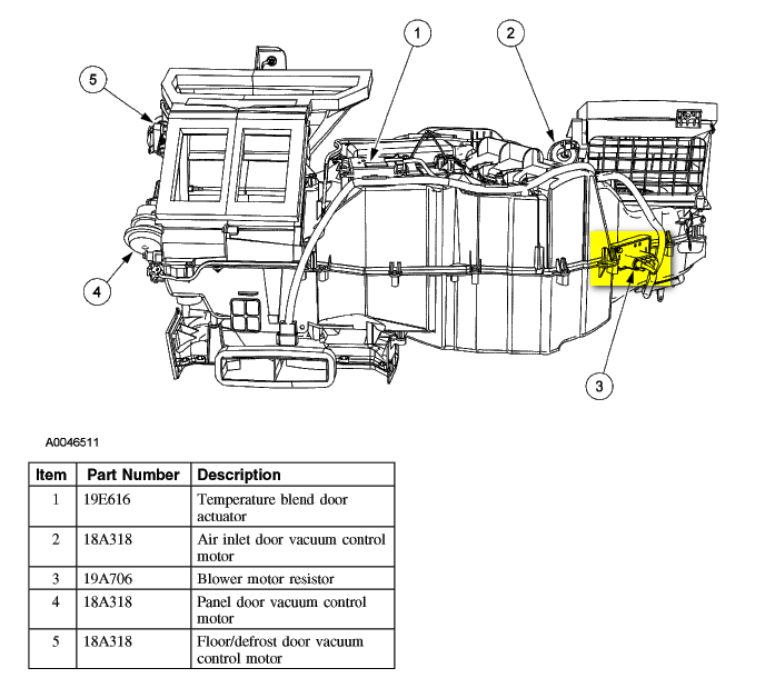 2008 ford escape blower motor resistor location