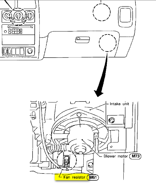 where is the blower motor resistor on a nissan pathfinder se 2003