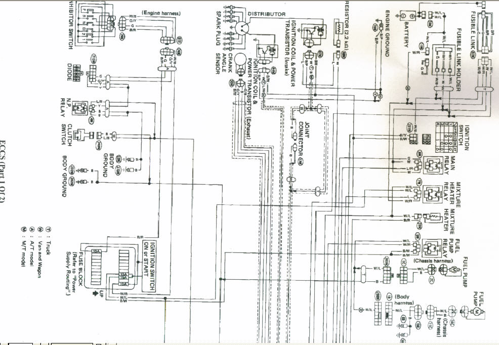 1987 nissan pathfinder replaced coil distributor relay a hot wire here are the scans of the wiring graphic graphic diagram