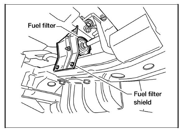 where is the fuel filter located on a 2002 nissan frontier