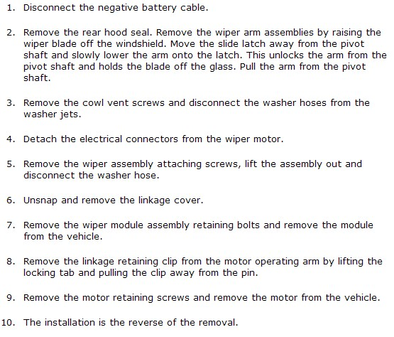 wiper motor replacement instructions