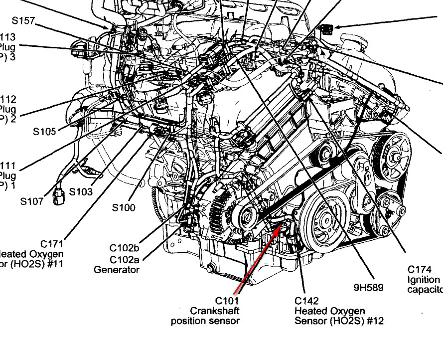 where is the crank shaft piostion sensor located ford