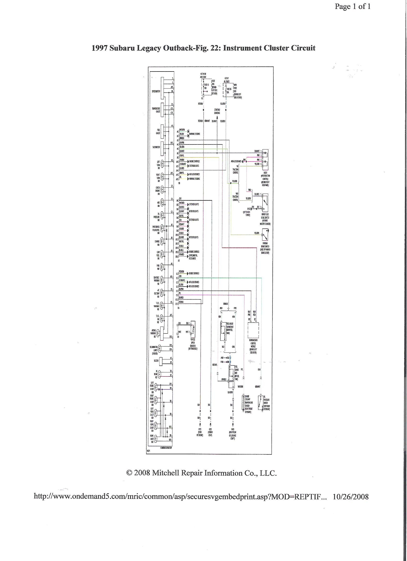 1997 Subaru Outback Turn Signal Wiring Diagram Schematics 96 Impreza Stereo 2 5 Speedo Problems It Works Great If Legacy