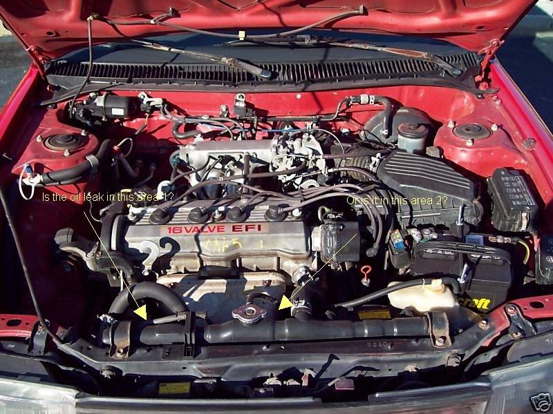 1989 toyota corolla has severe oil leak in front of engine for Toyota corolla motor oil