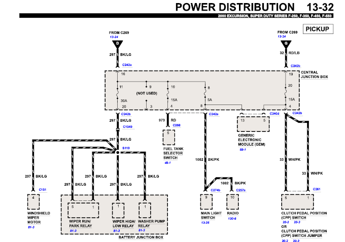 2000 ford f 450 super duty 2wd cab switched power at the solenoid graphic