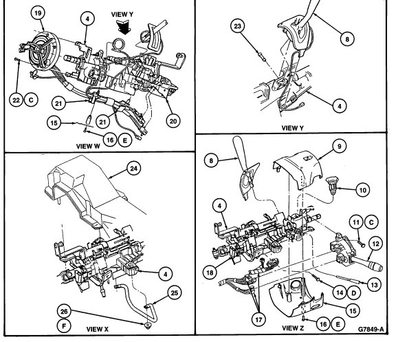 i have a 1996 ford taurus. a bolt from inside the steering ... ford taurus steering column diagram 2002 ford ranger steering column diagram #5