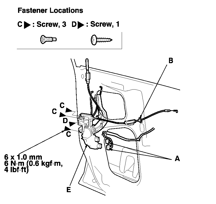 1998 Honda Accord Driver Door Latch Repair Diagram