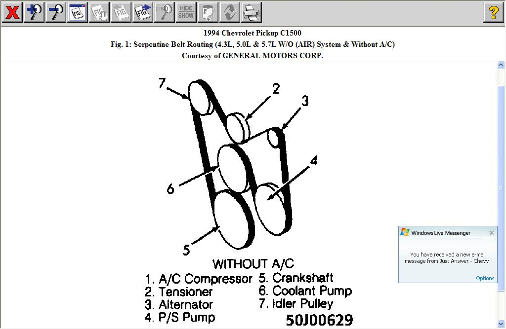 I Need A Serpentine Routing Diagram For A 1994 Chevy 4 3