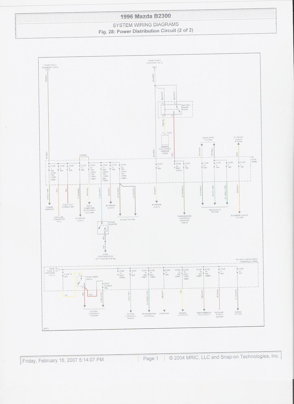 1996 mazda b2300 fuse panel diagram graphic