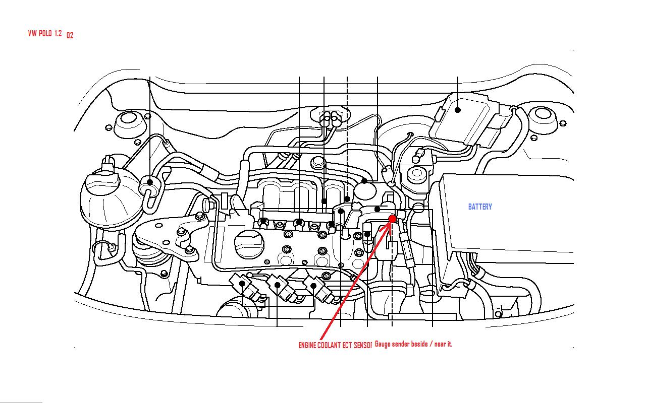 where is the temperture sensor situated in a vw polo o3