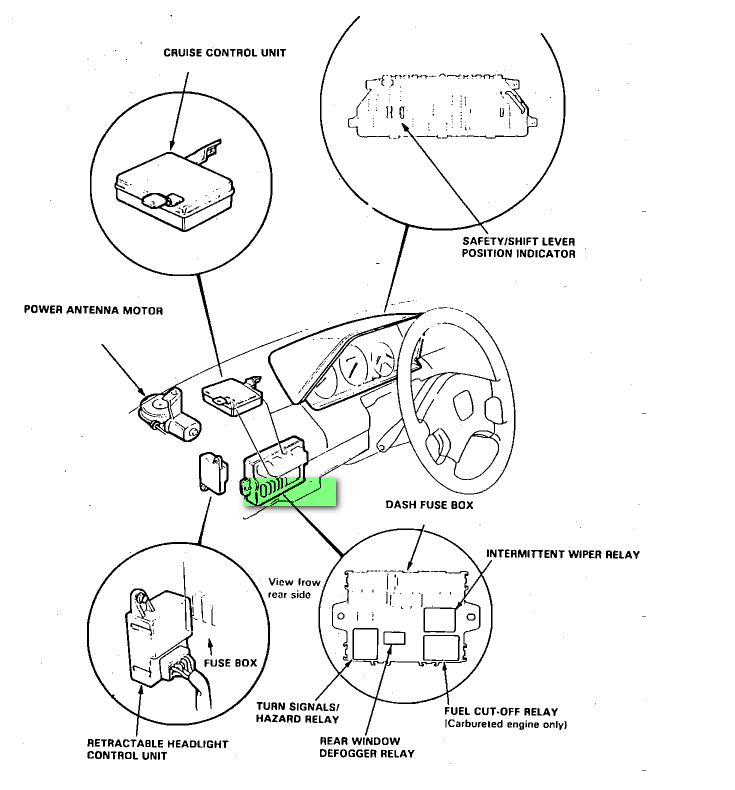 where is the turn signal located on a 1986 honda accord