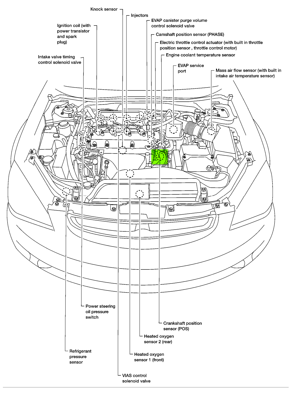 where is the crankshaft position sensor on a 2002 nissan