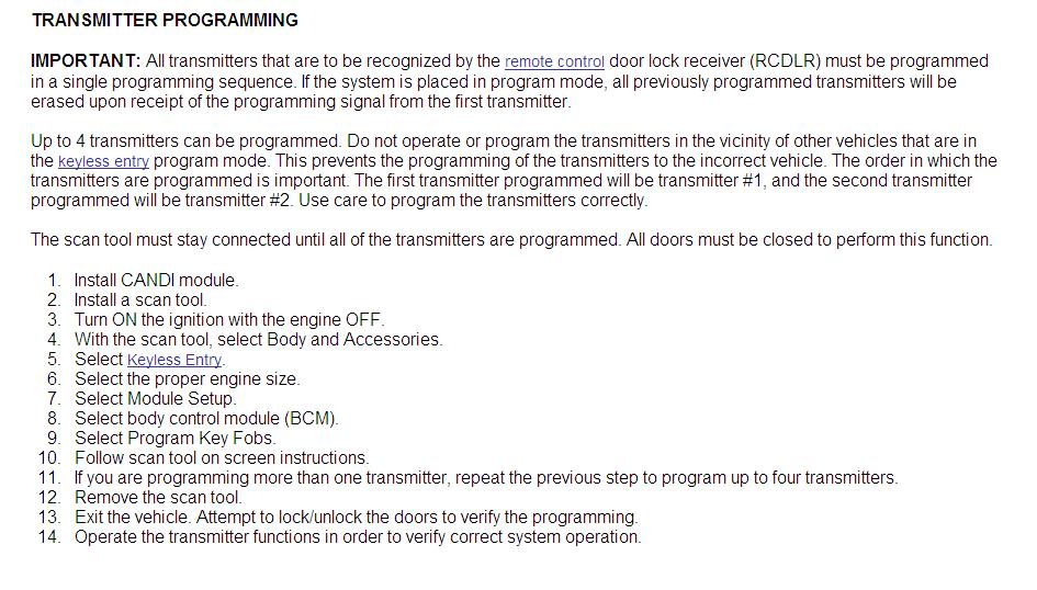 How do i program a new key fob for my 2006 malibu maxx ss?