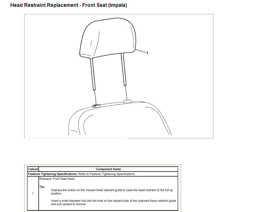 service manual  how to remove head rest on a 2006 cadillac