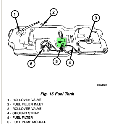 where is the gas filter on a dodge caravan sport 2003